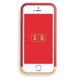 (エスキュー) SQ 日本製 ツートンカラーバンパー Duralumin Bumper for iPhone SE/5s/5 Red×Gold