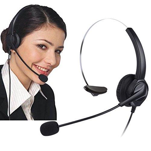 電話ヘッドセット、CiscoシリーズIP電話ヘッドフォン、PChero ハンズフリーコールセンターコード付きヘッドフォン、マイク付き固定電話用ヘッドセット、携帯や販売や保険や病院や通信事業者などのためのRJ9四つピンコネクタ付き電話対応ヘッドフォン「片耳」