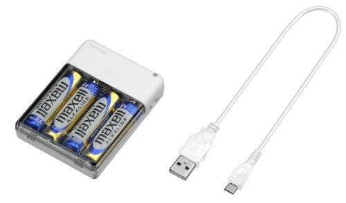 GREEN HOUSE 乾電池式モバイルバッテリ ホワイト G...