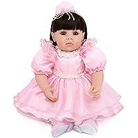 20インチ 欧米大人気 リアル 女の子 人形 着せ替えはできる ドール 安全ビニール製 子ども おもちゃ ぬいぐるみ 西洋風 レトロ調 子供への誕生日プレゼントに最適 (黒髪 リボン付き プリンスドレス)