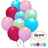 50個 LEDライトアップバルーン – プレミアムミックスカラーライトバルーン 12-24時間持続 – 家の装飾 – 誕生日パーティー – ウェディング – ヘリウムまたはエアフラッシュパーティーライトバルーン (50個パック)