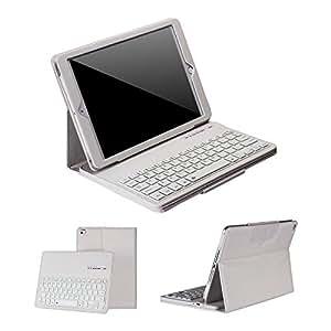 【Ewin】 iPad air2 /iPad air 通用 Bluetooth キーボード ケース! スタンド機能付き キーボード分離可能!アイパットエアー ワイヤレスkeyboard !高級 PU レザーケース! ホワイト【日本語説明書付き】