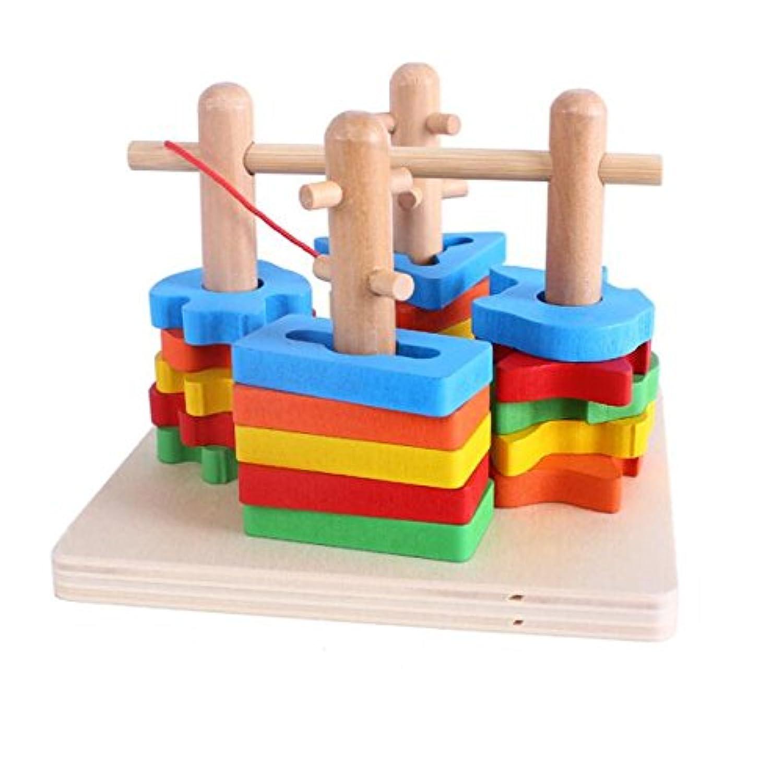 HuaQingPiJu-JP カラフルな木製の4つのビルディングブロック列の赤ちゃんジオメトリ認知マッチングおもちゃクリエイティブギフト