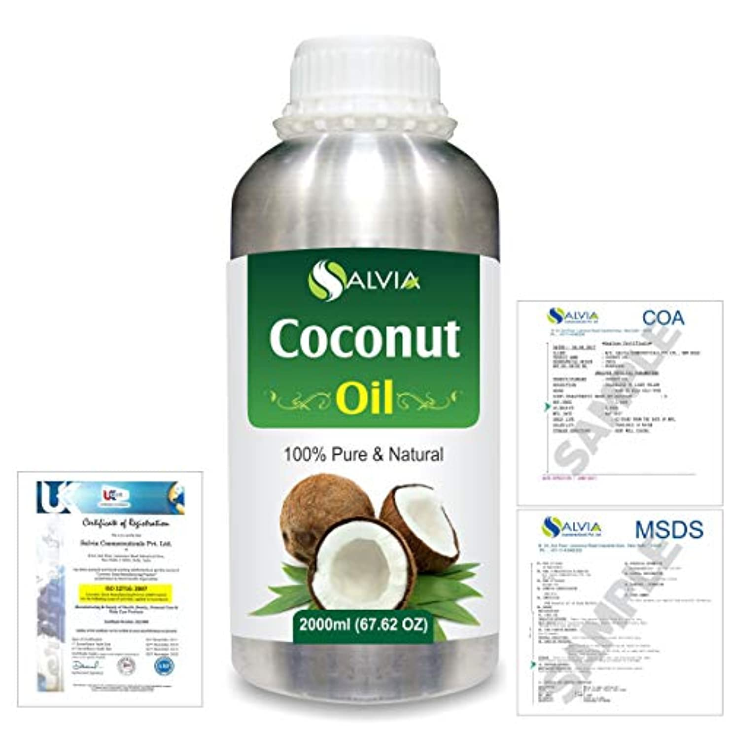 理論吐く駐地Coconut (Cocos nucifera) Natural Pure Undiluted Uncut Carrier Oil 2000ml/67 fl.oz.