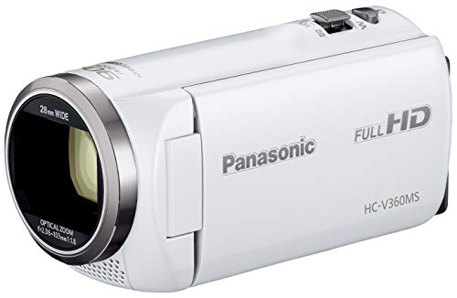 パナソニック HDビデオカメラ V360MS 16GB 高倍率90倍ズーム ホワイト HC-V360MS-W