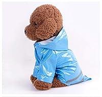 YULINGTRADE 3色 PU ペット 犬 レインコート服 犬子 犬 カジュアル 防水 ジャケット 衣装 レインコート 犬服 雨 (色 : 青, サイズ : L)