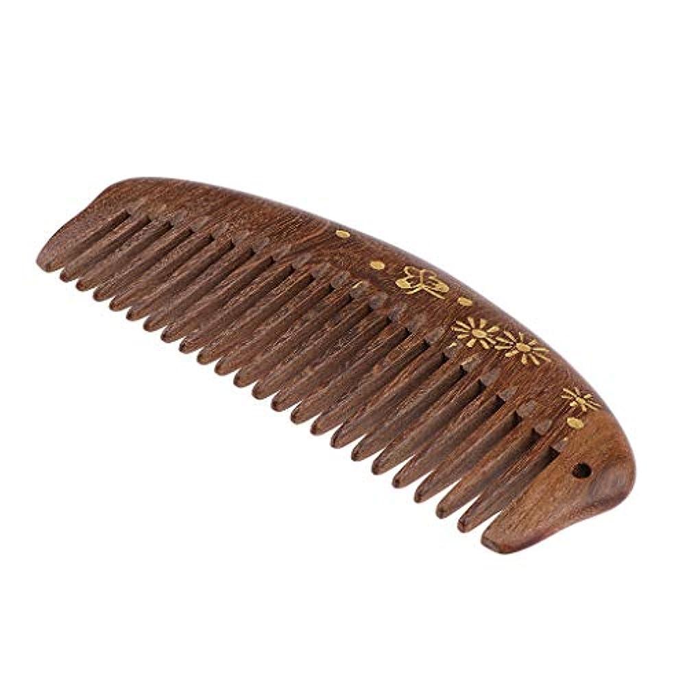 P Prettyia 帯電防止櫛 ウッドコーム 櫛 頭皮マッサージ 携帯便利 3仕様選べ - 中歯