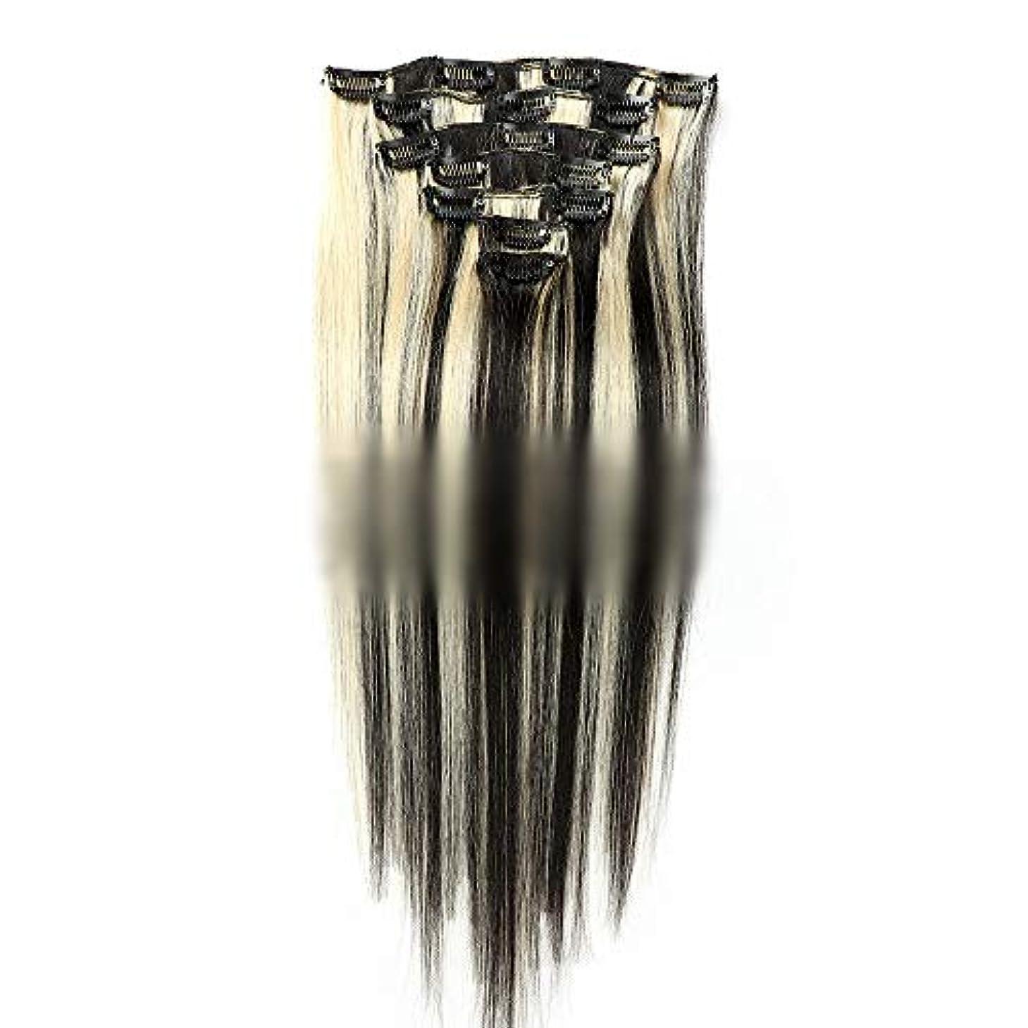 グラフ準備した谷HOHYLLYA 本物のヘアエクステンションフルヘッドでストレートダブル横糸人間の髪の毛クリップ - 22インチ80 g#1B / 613アッシュブロンドと黒のコロロールプレイングかつら女性の自然なかつら (色 : #1B...