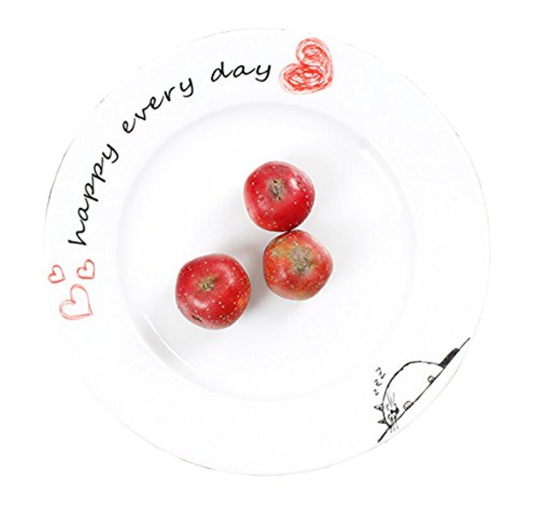 ホワイト磁器セラミックCute BearシンプルなスタイルデザートプレートディナープレートSeasoning SauceステーキプレートDishesホームパーティー用BBQ 8''-Hearts