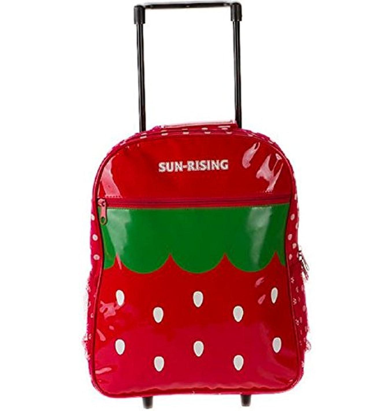 黒恥スマートかわいい キッズ アニマル キャリー バッグ 2way リュック トロリー ころころ キャスター 付き 旅行 鞄 てんとう虫 苺 アヒル レッド オレンジ 女の子 kids (いちご)