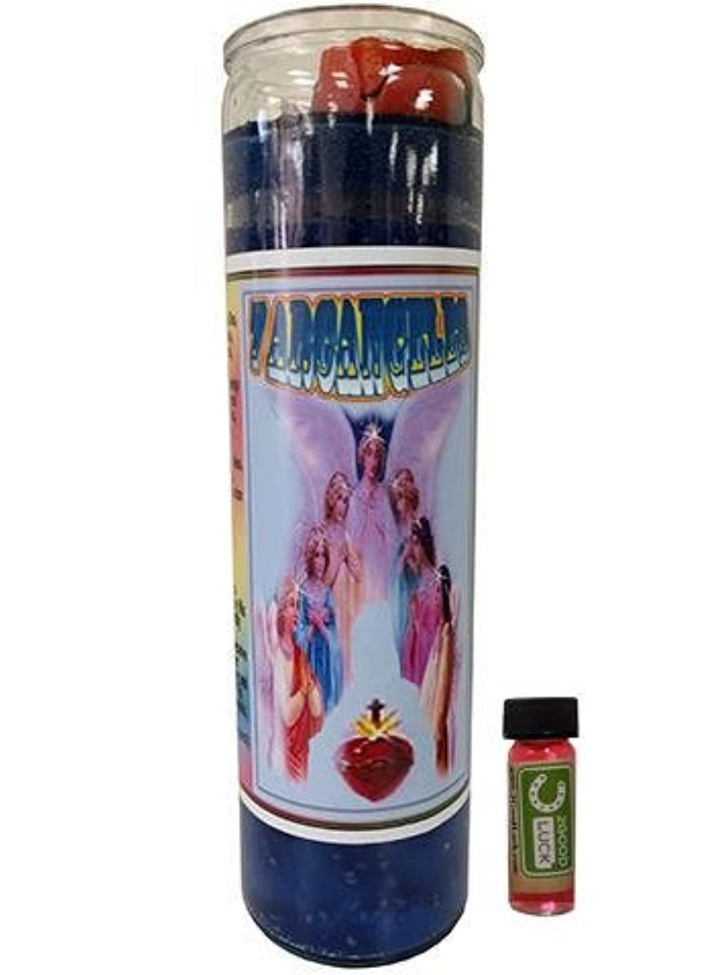 娯楽表向き虚偽7大天使Dressed Scented Candle – Veladora Preparada 7 Arcangeles