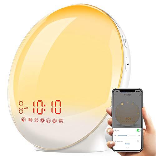 YABAE 目覚まし時計 光 目覚ましライト Alexa/Google homeで制御 Wake Up Light デジタル めざまし時計 子ども 自然音 ウェイクアップライト ベッドサイドランプ アラーム スヌーズ機能 おしゃれ FMラジオ 間接照明 コンセント MY-09-S
