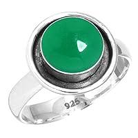 ナチュラル 緑 オニキス 女性たち 宝石 925 スターリング 銀 リング サイズ 21