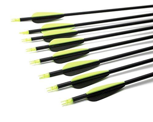 スタミナ アーチェリー用品 31インチ黒矢柄 2つ色羽根 直径7.8mm狩猟と目標練習炭素矢 反曲弓/長弓/伝統弓適用 6本組