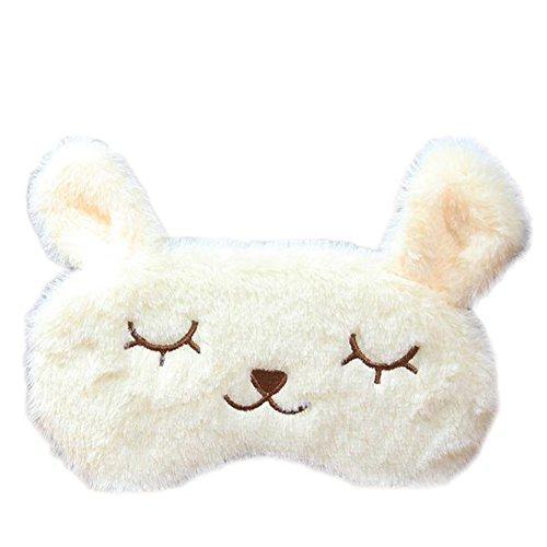 Doitsa アイマスク 睡眠カバー 目の疲れ 遮光 かわいい ウサギ 温冷両用アイマスク 昼寝 電車 飛行機 旅行 寝室 スリーピング 男女兼用 ベージュ