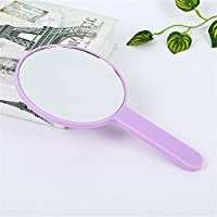 HuaQingPiJu-JP ミニラウンドシェイプハンドミラー小さなガラスミラー工芸装飾化粧品アクセサリーパープル