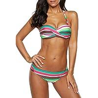 Blibea Women's Striped Twist Halter Bandeau Bikini Padded Push Up Two Piece Swimsuits Large Green