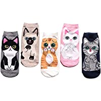 5 Pack Women's Colorful Cute Cat Crew Socks, Cotton Low Socks - Gifts for Women and Girls(Boys)