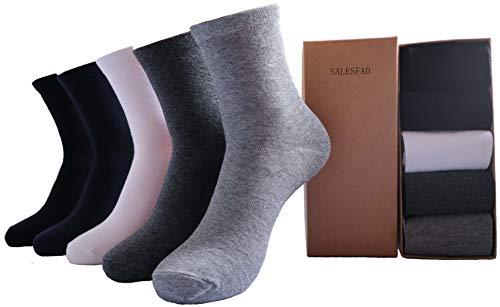 SALESFAD メンズ 靴下 ビジネスソックス 抗菌防臭 コットン 5足セット 黒+紺+白+深灰+灰 24-28CM