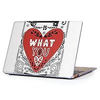 """MacBook Air 13inch 2018/2019モデル / A1932 専用ハードケース マックブック エア Mac 13"""" インチ 専用 ケース カバー クリア アクセサリー 保護 (2010年 ~ 2017年モデル 非対応) 014224 英語 文字 ハート"""