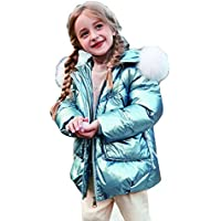 New Winter Outfit with Shiny Big Hair Collar for Little Girls Down Jacket,Blue,130