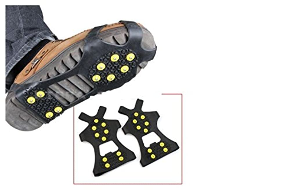 意外堂々たるマークRICISUNG ブーツシューズカバーフィット アイススノーグリップ アンチスリップウィンターアイスグリッパー ハイキングフィッシングクライミング スノートラクションクリートクランポンスパイクアイストラクションスリップ S