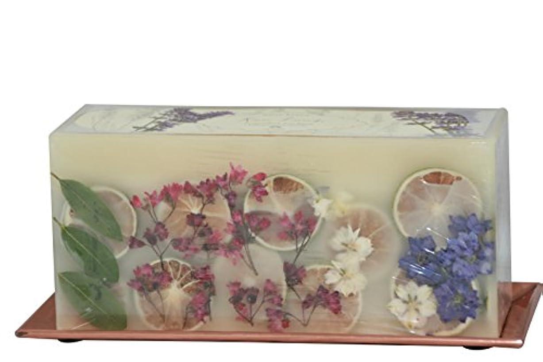 モーテル混沌種(Roman Lavender) - Rosy Rings 3-Wick Brick Botanical Candle with Hammered Rose Gold Tray (Roman Lavender)
