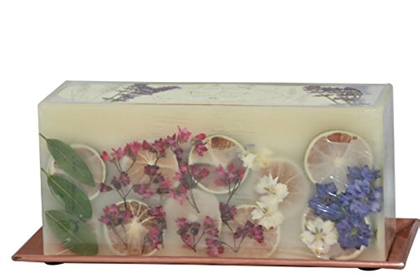 フェッチセント担当者(Roman Lavender) - Rosy Rings 3-Wick Brick Botanical Candle with Hammered Rose Gold Tray (Roman Lavender)