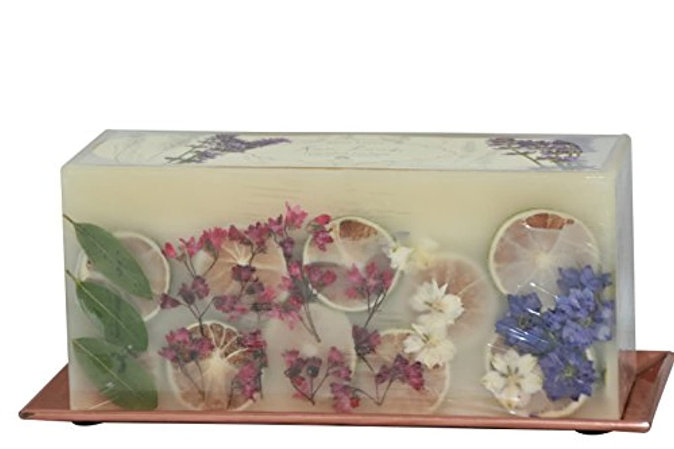 有利保安麻酔薬(Roman Lavender) - Rosy Rings 3-Wick Brick Botanical Candle with Hammered Rose Gold Tray (Roman Lavender)