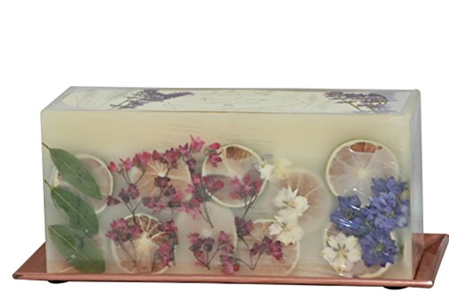 離す自明巡礼者(Roman Lavender) - Rosy Rings 3-Wick Brick Botanical Candle with Hammered Rose Gold Tray (Roman Lavender)