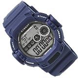CYBEAT 5気圧防水ELバックライトデジタルウォッチ 人気ユニセックス腕時計 ブルー SCY04-BL