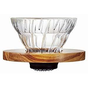 HARIO (ハリオ) V60 耐熱ガラス透過 コーヒードリッパー オリーブウッド 01  コーヒードリップ 1~2杯用 VDG-01-OV