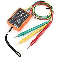 SM852B 3相回転試験機デジタル位相表示器検出器LEDブザー位相シーケンスメーター電圧テスター60V?600V AC(:グレー&オレンジ)