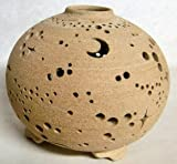 岩手県陶芸品 夢灯・ランプシェード 星月夜(大) ≪焼しめタイプ≫ (手作りランプ・アロマ皿付)