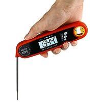 防水食品温度計、折りたたみ式インスタント読書肉温度計、キッチングリル、磁気およびキャリブレーション付きクイック温度プローブ