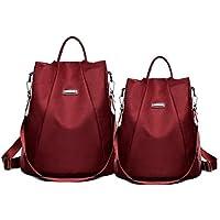 Women's Backpack Set of 2 Waterproof Oxford Travel Backpack Portable Shoulder Bag School Bag (Color : Burgundy)
