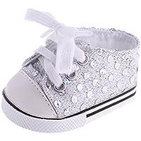 【ノーブランド品】 1ペア ファッション  スパンコール  スニーカー  靴  18インチ アメリカンガールドール用 5色選べる  - 白