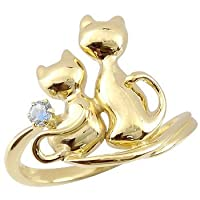 [アトラス] Atrus ネコ の ピンキーリング ブルームーンストーン ソリティア 一粒の宝石 イエローゴールドK18 K18 18金 指輪 3号 一粒宝石とアベック猫のかわいいリング ファッションリング