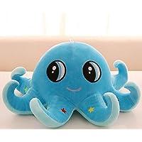 HuaQingPiJu-JP ぬいぐるみ50cmかわいいタコの人形赤ちゃんの子供のための柔らかいぬいぐるみ家族クリスマスの誕生日の贈り物(青)