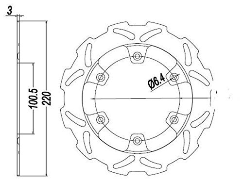 Beautyladays カワサキ 純正ウェーブタイプ 多機種対応 リア ブレーキ ディスクローター 対応車種:Kawasaki KX125/KX500/KLX300R/KLX650R/KDX200/KDX220