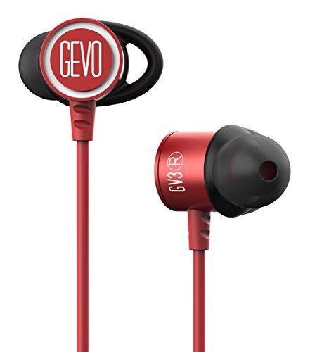 GVOEARS イヤホン 高音質・低音重視|外れにくい|スポーツ・ランキング|耳にやさしい|マイク付き・クリア通話|iphoneなど多機種対応 GV3(red-white)