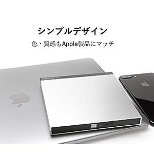 ロジテック ポータブルDVDドライブ USB3.0 for Mac USB type-C 変換アダプタ付 薄型 軽量 macOS Sierra対応 シルバー LDR-PUD8U3MSV
