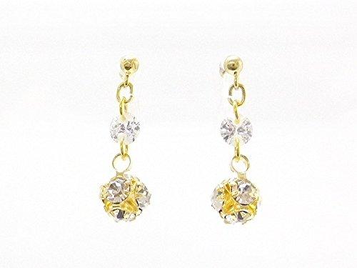 [해외]수지 라인 스톤 볼이 흔들리는 논호루삐아스 귀걸이 귀걸이/Resin made rhinestone balls shake nonhole pierced earrings earrings
