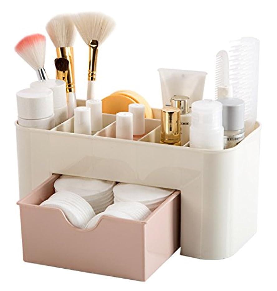 証拠戸口証言ZUOMA メークボックス 化粧品収納ボックス コスメスタンド 引き出し式 メークケース 小物/化粧品入れ コスメ収納 透明アクリル 大容量 (ピンク、22*10*10.3CM)