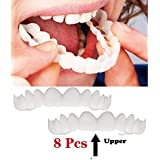 8ピース突き板歯仮化粧品歯義歯歯模擬ブレースアッパーブレースホワイトニング歯スナップキャップインスタント快適なフレックスパーフェクトベニア