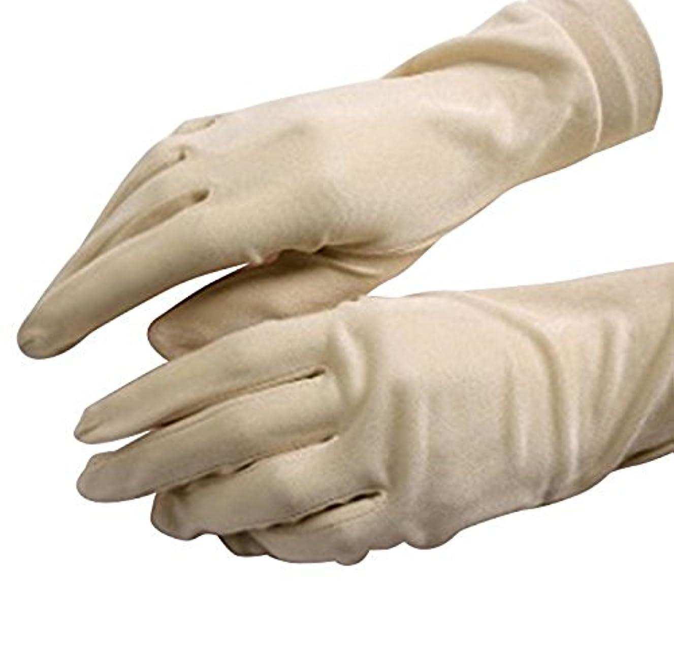 わざわざかんがい修士号CREPUSCOLO 手荒れ対策! シルク手袋 おやすみ 手袋 保湿ケア UVカット ハンドケア シルク100% 全7色 (ベージュ)