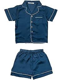 ZooArts 子供パジャマ キッズ 女の子 男の子 春夏 シルク ルームウェア 上下セット 長袖 半袖 長ズボン 前開き 寝巻き 部屋着 無地 おしゃれ セットアップ