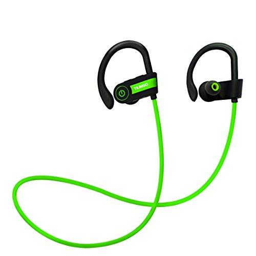 Tiumso Bluetooth スポーツイヤホン 高音質 ブルートゥース イヤホン ランニング用 ノイズキャンセリング 防水 防汗 耳掛け式 iPhone 7/ 7Plus/6 Sony Android スマートフォンなどに対応 (緑)