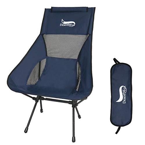 DesertFox アウトドアチェア 折りたたみ 超軽量【ハイバック】【耐荷重150kg】コンパクト イス 椅子 収納袋付属 お釣り 登山 携帯便利 キャンプ椅子0016 (青 T/ハイバック)