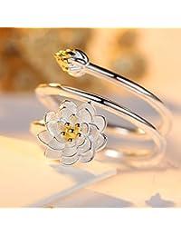 Nenon&wenom 指輪 リング レディース フリーサイズ 調節可能 ロータスデザイン 華奢 3D 誕生日プレゼント 女性 彼女 妻 記念日 プレゼント ギフト ハワイアンリング 贈り物